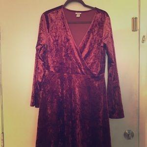Mossimo Supply Wine Velvet Long Sleeve Dress